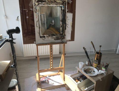Work in progress met olieverf